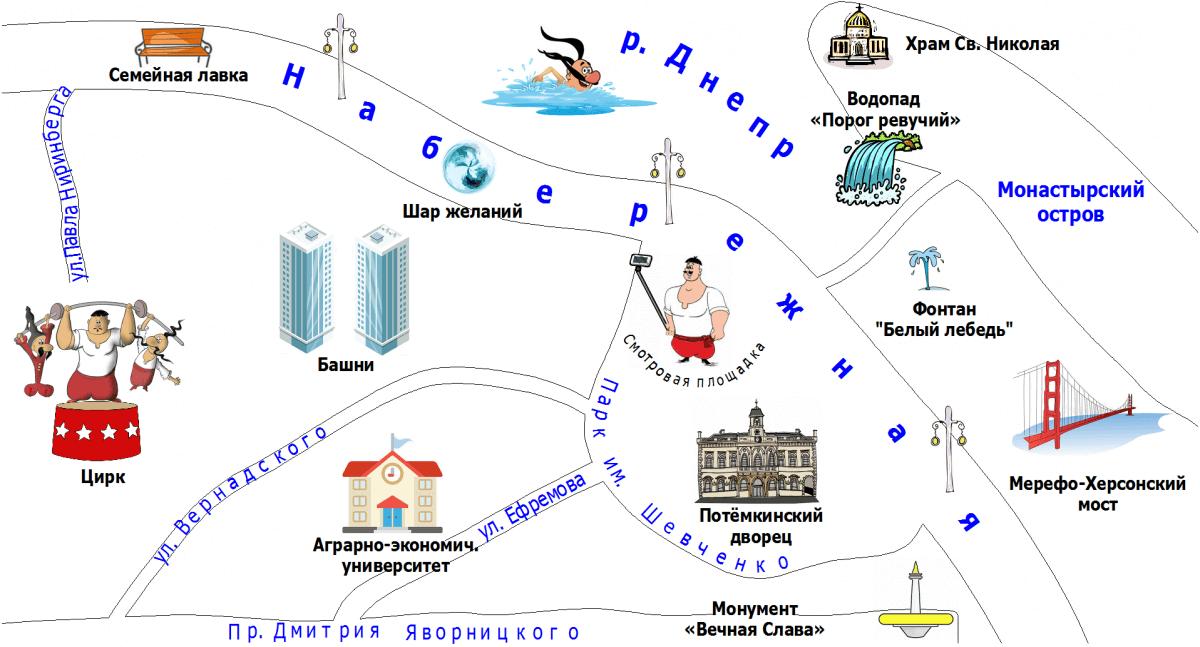 Карта Днепровской набережной