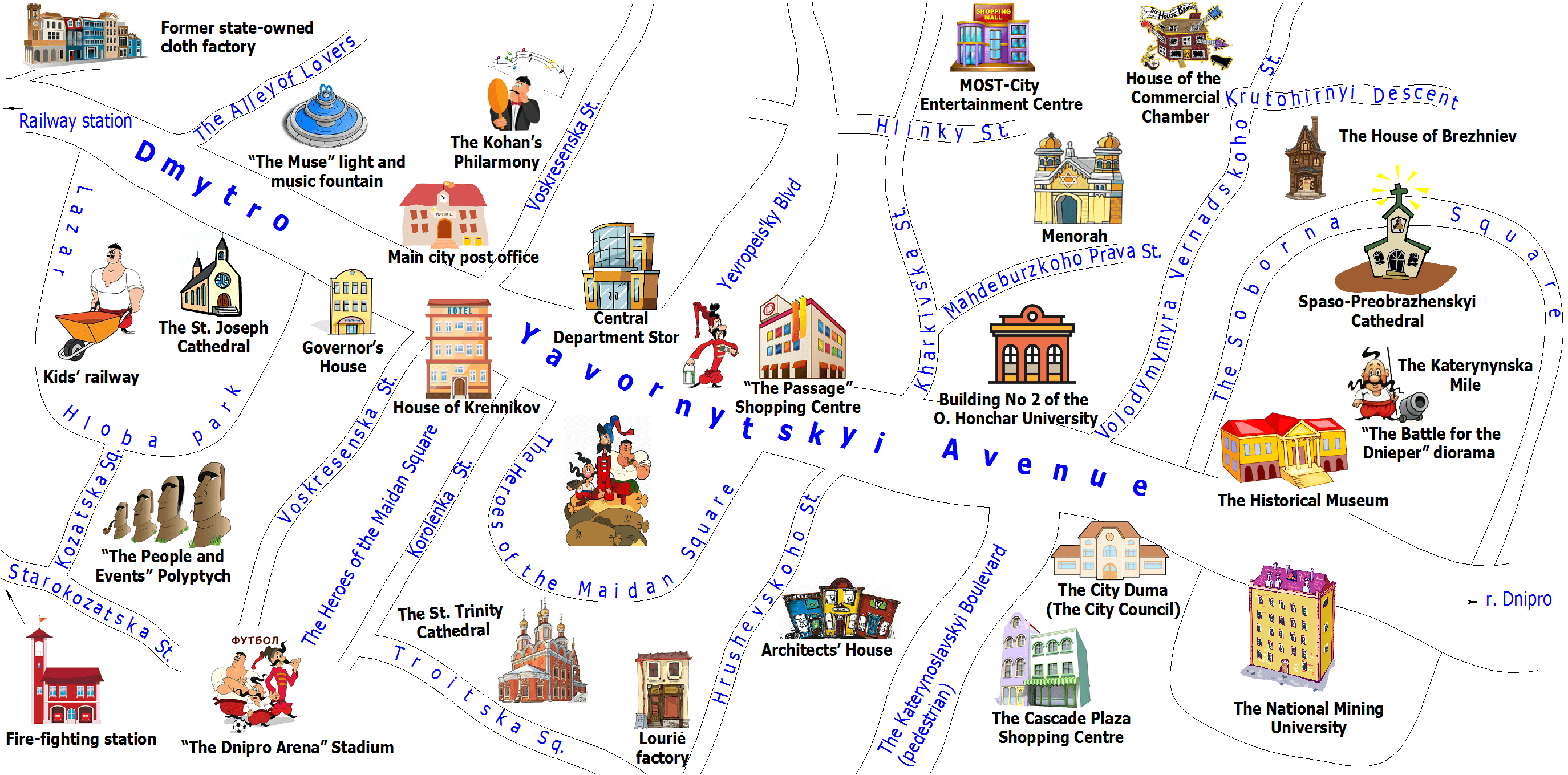 Map of Dniro city center
