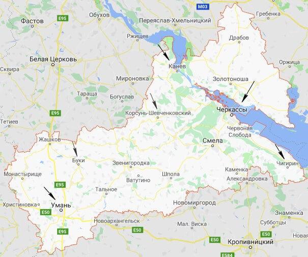 Черкасская область карта