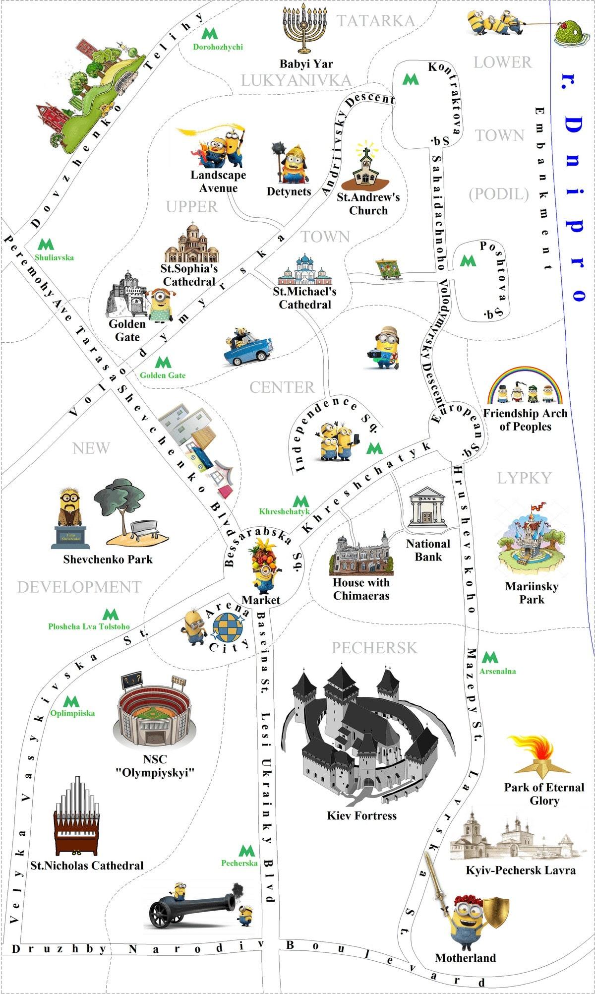 Map of Kiev Sights