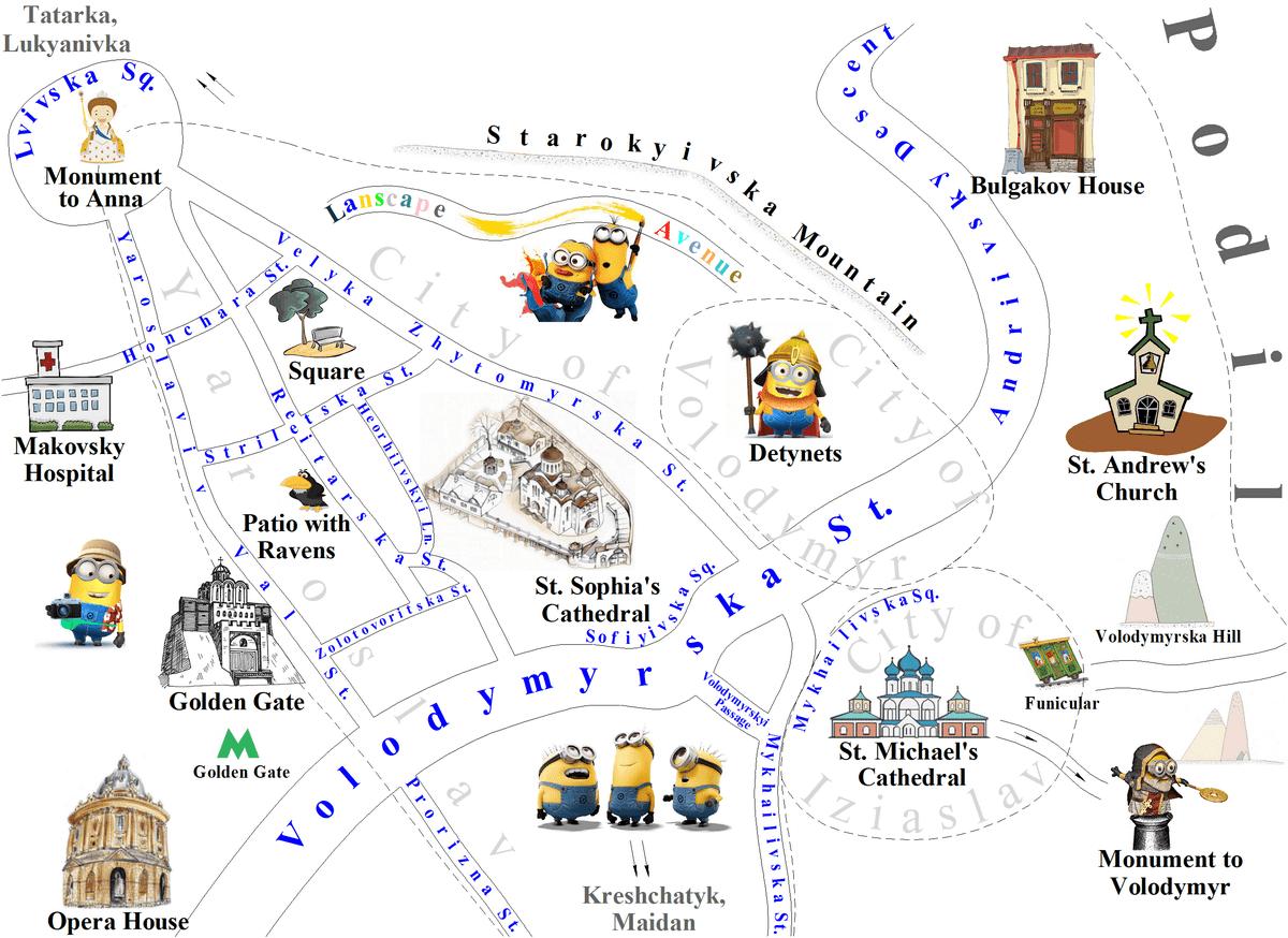 Upper town Kiev map