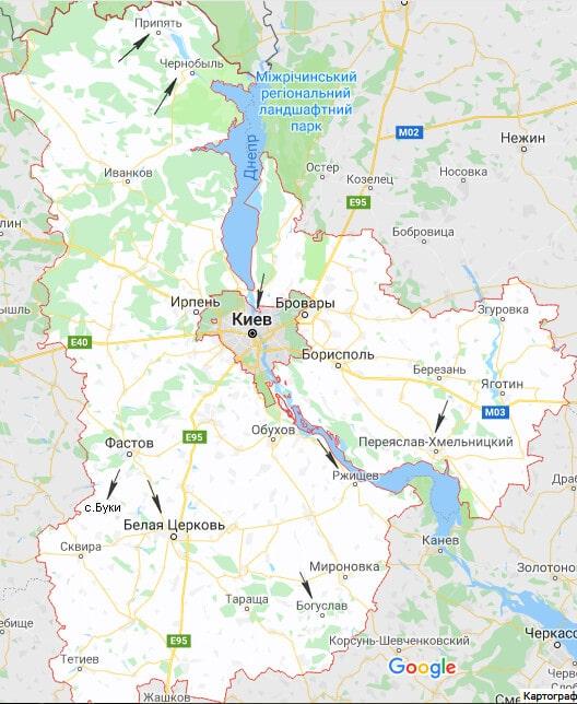 Киевская область карта