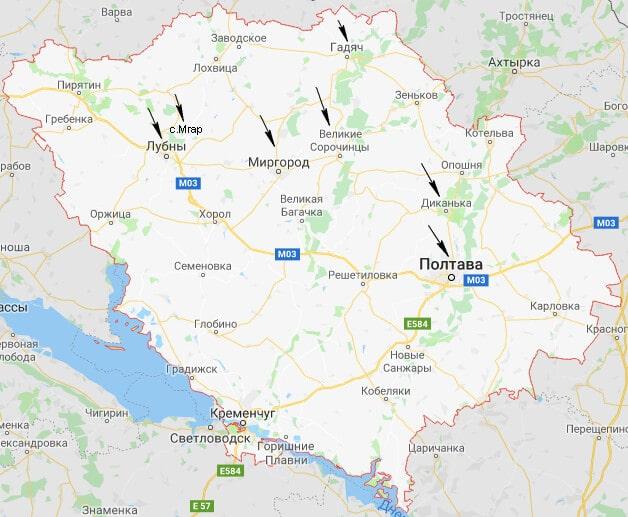 Полтавская область карта