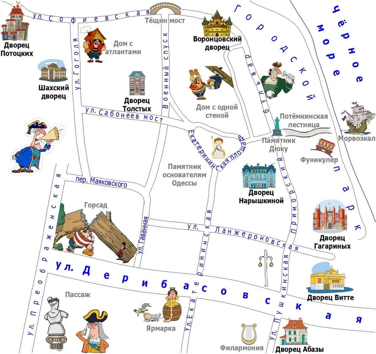 Одесские дворцы экскурсия карта
