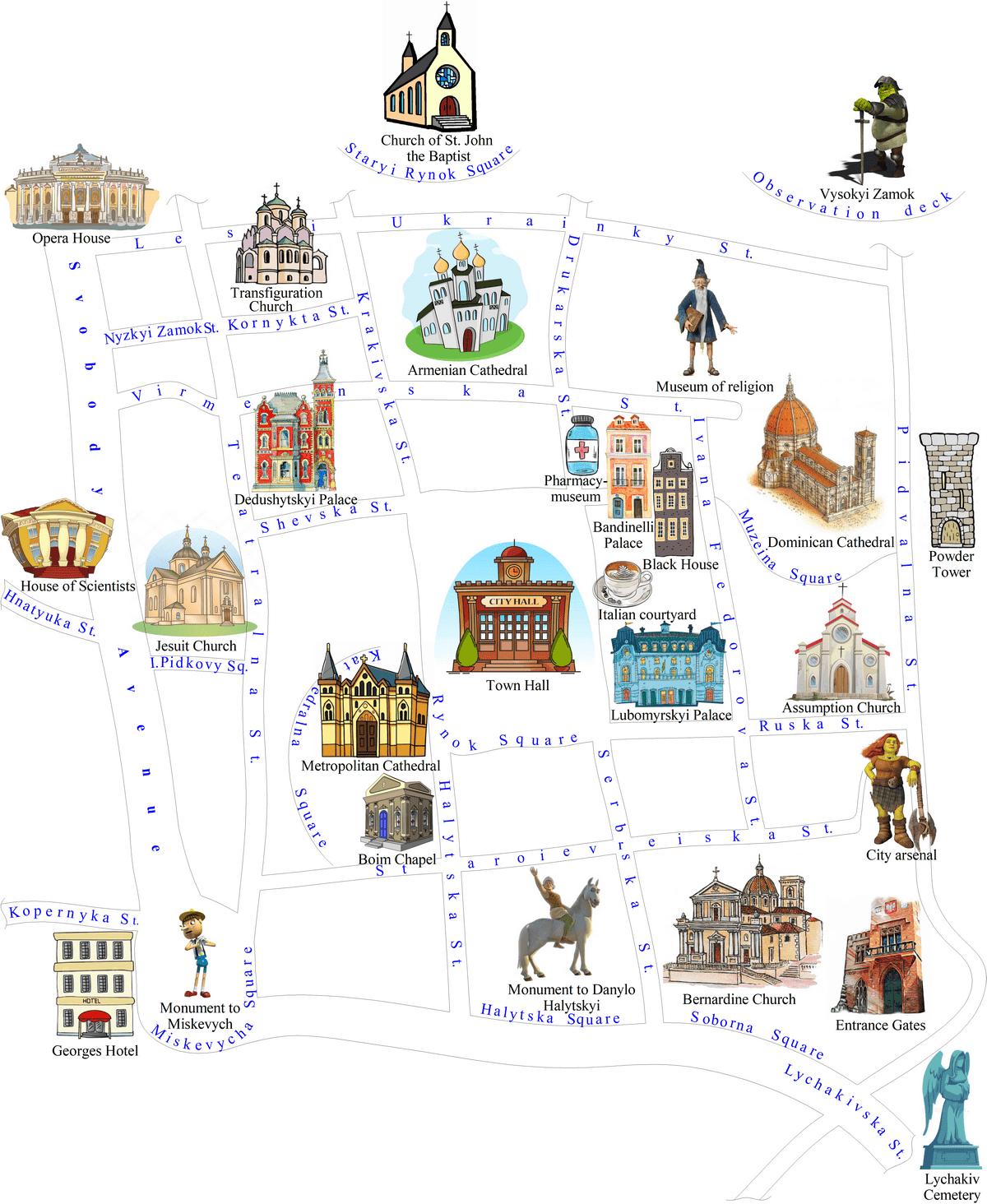 Map of Lviv sights