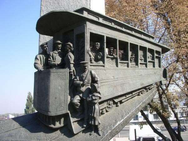 The monument to the first tram